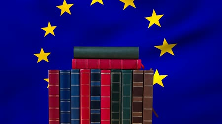 undulating : Animated books against animated waving in the wind European union Flag background