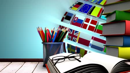 scholarship : Animated Desk with multinatioal animated globe in background Stock Footage