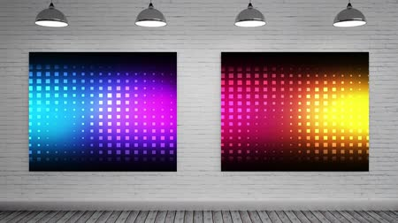 galeria : Animated Lights on Canvas mock up against animated grey background grey brick wall