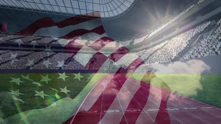 честь : Animated American flag against american football stadium background Стоковые видеозаписи
