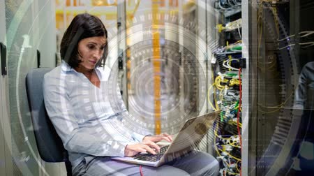 server room : IT professional working in Data Server Room against abstract number background Stock Footage
