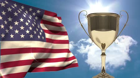 честь : Trophy against animated american flag background