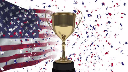 medalha : First Place Throphy against american flag background