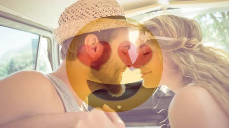 ás : Animated Yellow Emoticon with sunglasses against composite image of happy couple on vacation in van background