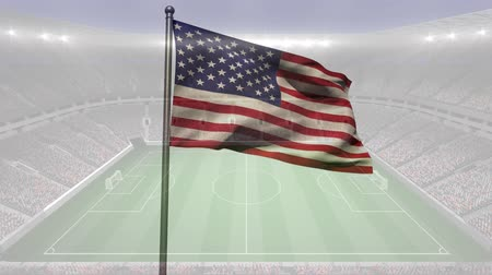 american football player : Animated american flag blowing in the wind against animated football stadium background