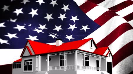 çatılar : Animated American flag against animated house with red roof background