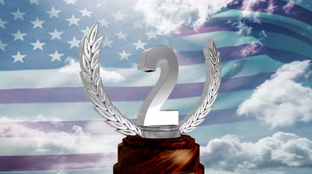 medal : Second Place Throphy against american flag background