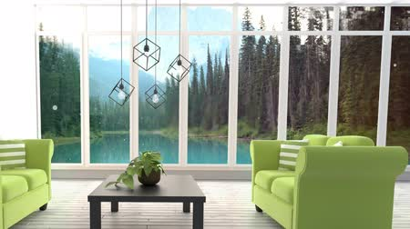 rolety : Animated Living room against forest background