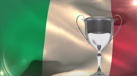 medal : Italian flag blowing in the wind against silver trophy Stock Footage