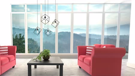armchairs : Animated Living room against forest background