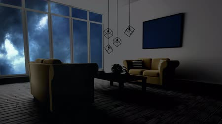 yağmur yağıyor : Animated Living room against thunder background Stok Video