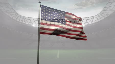 american football player : American flag against animated football stadium background