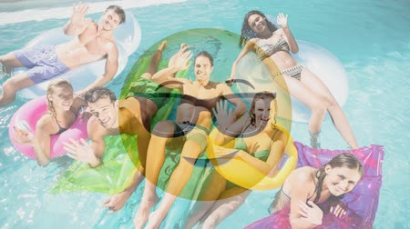 formato : Animated Yellow Emoticon with sunglasses against young adults in the pool background