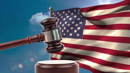 マレット : Court gavel against american flag background