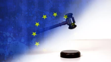 gabela : Court Gavel against EU flag background