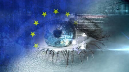 стегать : Digital eye opening against anomated EU flag Стоковые видеозаписи
