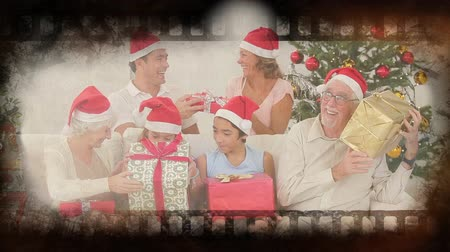 countdown leader : Old movie tape showing happy family at christmas Stock Footage