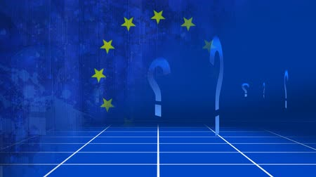 remote location : Questionmarks against animated EU flag background