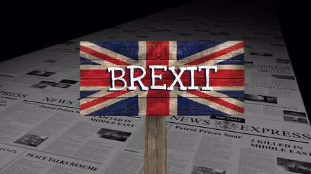 расположение : Brexit britain flag against animated news paper news express Стоковые видеозаписи
