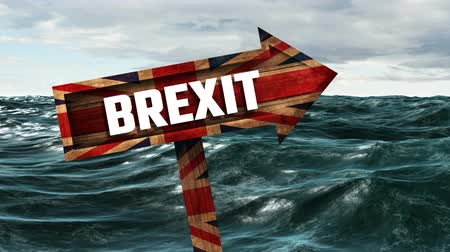 remote location : Animated Brexit sign with britain flag against ocean waves Stock Footage