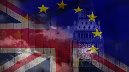 remote location : Animated big ben with moving clouds against animated Britain and EU flag background