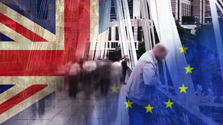 election : People crossing street in urban area against animated EU and Britan flag Stock Footage