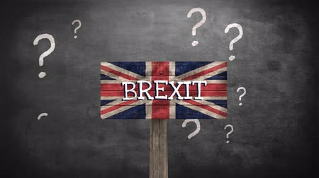 remote location : Animated Questionmarks against animated british BREXIT flag