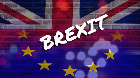 решение : Animated headlights of cars on busy street against animated Eu and britain flag Brexit background