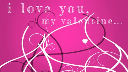ás : I love you my valentine writing against animated pink background Stock Footage