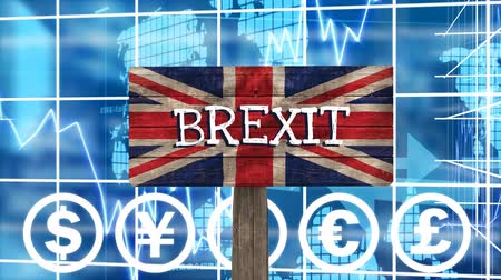 remote location : Brexit Sign on britain flag against digital animated blue background