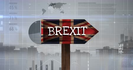 odchodu : Brexit Sign on britain flag against digital animated grey background