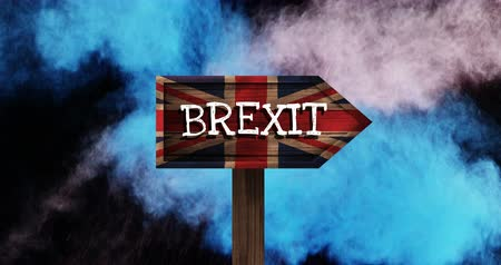 oy : Color explosions against animated BREXIT sign on britain flag background