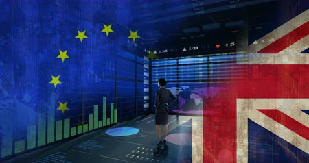 remote location : businesswoman against data animate background with EU and britain flag baclground Stock Footage