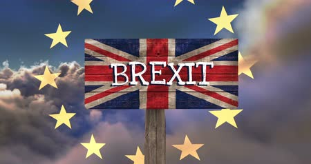remote location : EU Flag on animated clouds against BREXIT sign on britain flag background