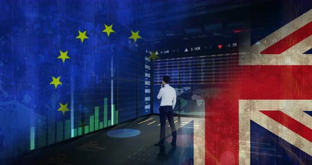 remote location : Businessman standing against glowing blue technology animated background with EU and britain flag Stock Footage