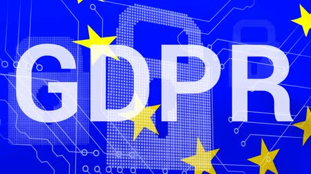 bağlılık : GDPR against digital blue animated background and EU Stok Video