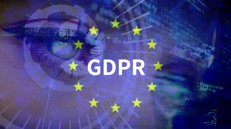 erişilebilirlik : Digital eye opening against anomated EU flag and GDPR