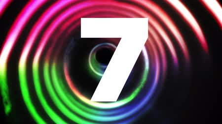 countdown leader : Digital animated Countdown against colorful background Stock Footage
