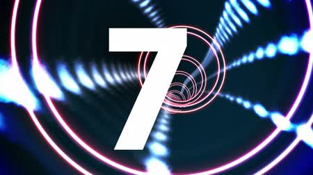 countdown leader : Countdown from ten to one animation against blue technology spiral background Stock Footage