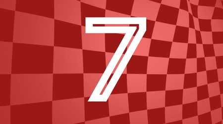 明るく照らされた : Animated countdown on red animated race track flag background 動画素材