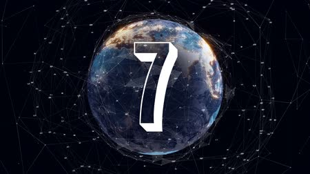 countdown leader : Countdown against digital animated background of earth Stock Footage
