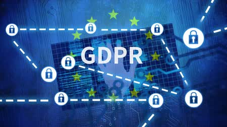 erişilebilirlik : GDPR against digital blue animated background and EU Stok Video