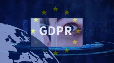 itaat : GDPR against digital blue animated background and EU Stok Video