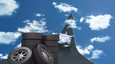 indicar : Arrow road animation against blue sky with piles of tires pointing to horizon Stock Footage