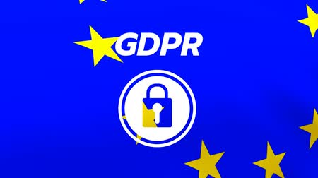bağlılık : Animated GDPR internet safety icon against animated eu flag background