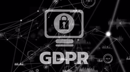 bağlılık : GDPR against animated safety icons background Stok Video
