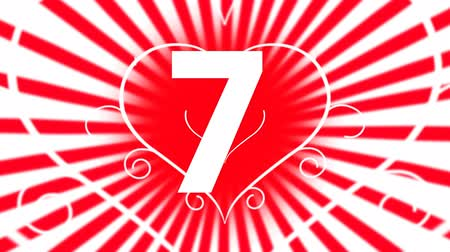 ás : Animated countdown against red and white animated hearts background