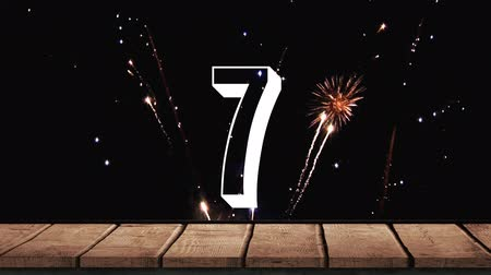 floodlight : Animated countdown against animated fireworks background Stock Footage