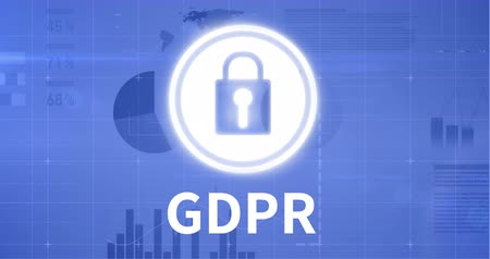loajální : Internet safety icon GDPR against blue animated background 4k