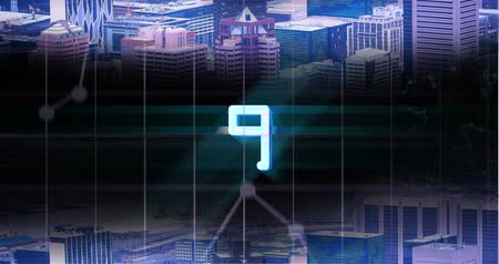 meia noite : Animated countdown against urban city skyline background 4k
